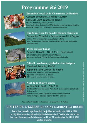 Programme animations été 2019 église de Saint-Laurent-la-Roche