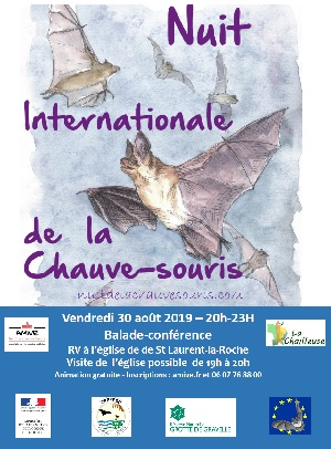 affiche nuit internationale de la chauve souris à Saint-Laurent-la-Roche