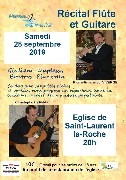 Affiche récital flûte et guitare à Saint-Laurent-la-Roche