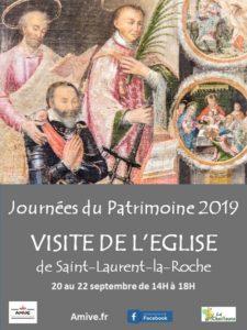 affiche visite église de Saint-Laurent-la-Roche lors des journée du Patrimoine 2019