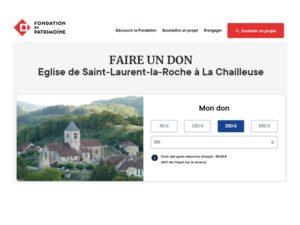 Visuel de la campagne de souscription Fondation du Patrimoine pour l'église de Saint-Laurent-la-Roche