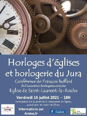 Affiche conférence Horloges d'églises et horlogerie du Jura