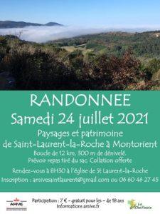 Randonnée autour de St Laurent la Roche le 24 juillet 2021